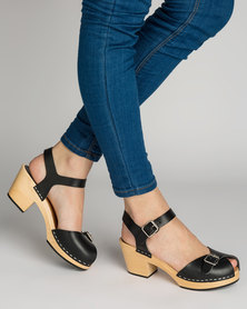 c45d99f70e5 Swedish Hasbeens Pia Sandal Black Leather