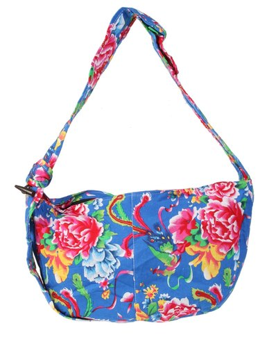 UB Creative Blue Floral Beach Bag