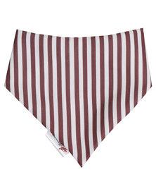 Moederliefde Pin Striped Bandana Bib Brown & White