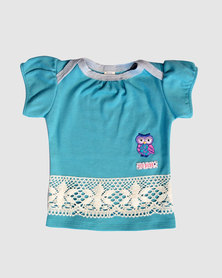 Eco-Punk Baby Puff Sleeve T-Shirt Seafoam Blue