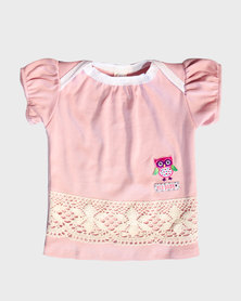 Eco-Punk Baby Puff Sleeve T-Shirt Pink