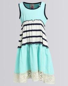 Eco-Punk Lace Hem Dress Mint