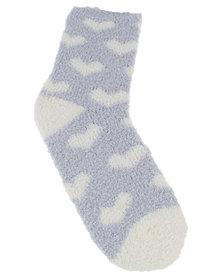 New Look 2PK Heart Stripe Socks Pale Blue