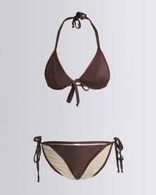 Nude Wear Triangle Bikini Set Cocoa