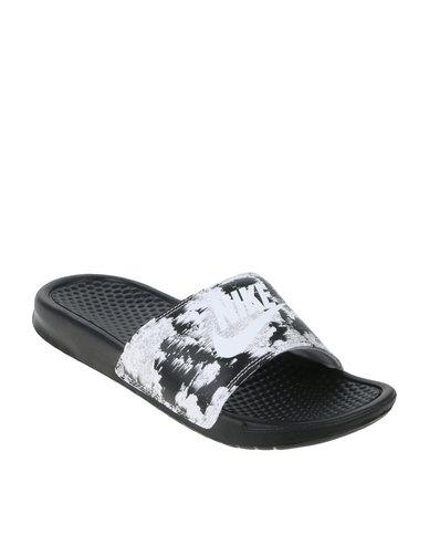 db5552cd6 Nike Womens Benassi Just Do It Print Black White