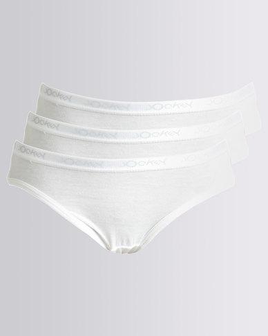 Jockey 3PK Plain Girls French Cut Briefs White