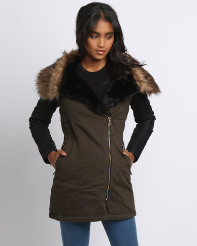 New Look Leather-Look Sleeve Faux Fur Collar Parka Khaki | Zando