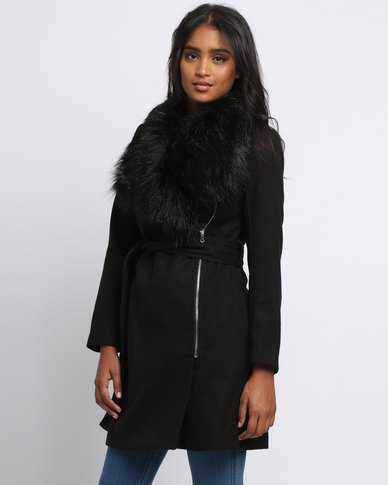 New Look Faux Fur Trim Belted Biker Jacket Black | Zando