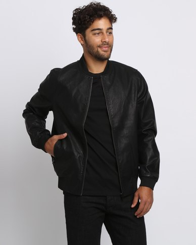 New Look PU Bomber Jacket Black | Zando