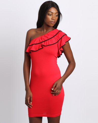 Utopia Ruffle One Shoulder Dress Red