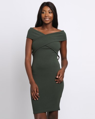 Utopia Off The Shoulder Bodycon Dress Olive