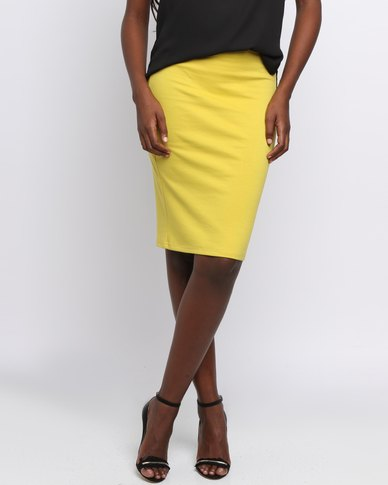 Utopia Basic Pencil Skirt Mustard