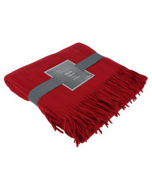 Haven and Earth Melody Plain Throw Paprika