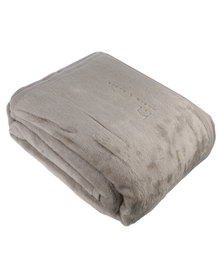 Haven and Earth Cotton Suede Plain Throw Cobblestone
