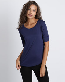 Utopia Ballerina Sleeve Basic Tee Navy