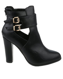 Utopia Double Buckle Cut Out Boot Black