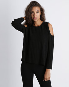 Utopia Cold Shoulder Knit Top Black