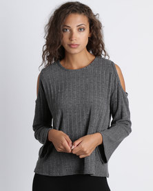 Utopia Cold Shoulder Knit Top Charcoal