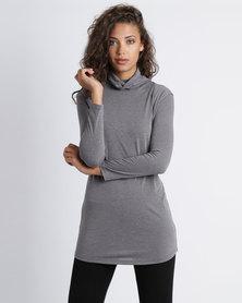 Utopia Knit Poloneck Tunic Charcoal