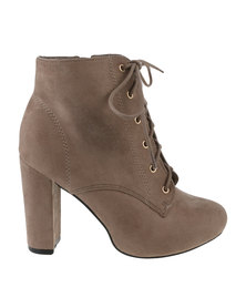 Utopia Lace Up Heel Boots Nude