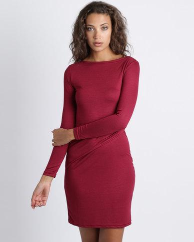 Utopia Knit Tuck Dress Burgundy