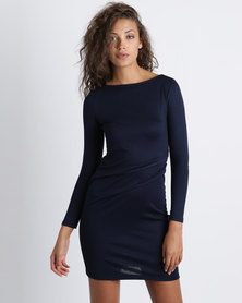 Utopia Knit Tuck Dress Navy