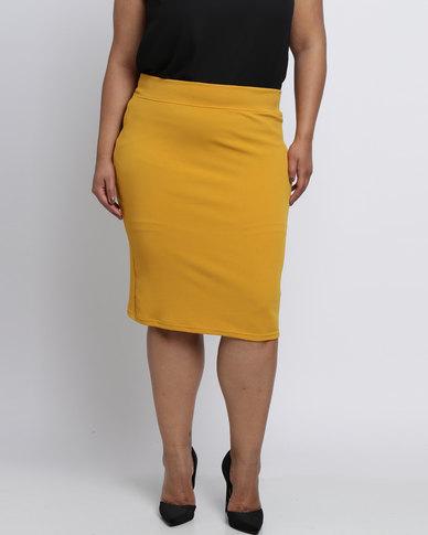 Utopia Plus Ponti Pencil Skirt Mustard