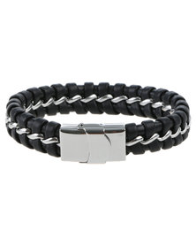 Xcalibur Mens Braided Bangle Black