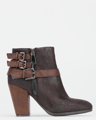 Utopia Pistol Ankle Heel Boots Brown