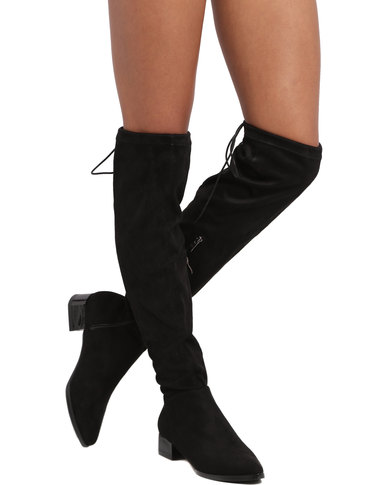 Miss Black Angela Over the Knee Flat Boot Black