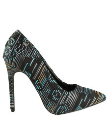Miss Black Gal Printed Pointy Heeled Court Shoe Blue