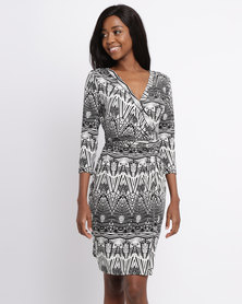G Couture Wrap Dress Black And White Print