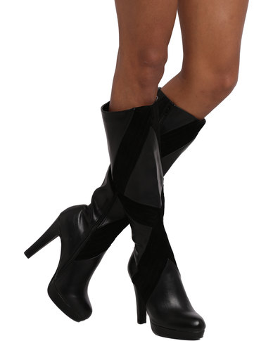 Miss Black Andrea Platform Knee High Boot Black