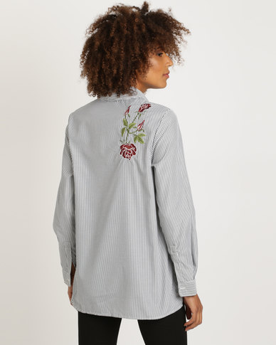 25326ed2d4 New Look Floral Embroidered Stripe Shirt Light Grey   Zando