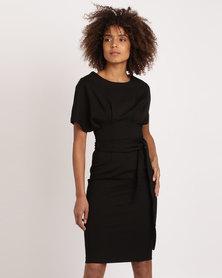 City Goddess London Kimono Sleeve Midi Dress with a Tie Black