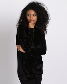 London Hub Fashion Velour Hoody With Front Pockets Black