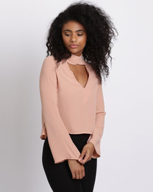 London Hub Fashion Flared Sleeve Blouse Blush