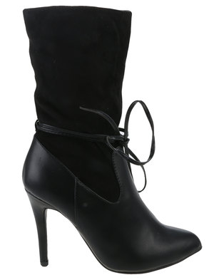 Footwork Cherry Heeled Mid Calf Boot With Laces Black