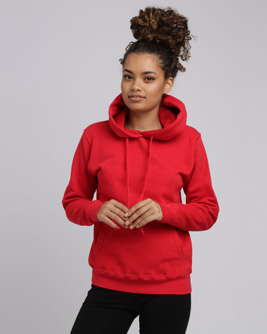Fruit of the Loom Lady Fit Classic Hooded Sweat Red