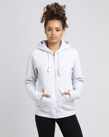 Fruit of the Loom Lady Fit Zip Through Hooded Sweat Grey
