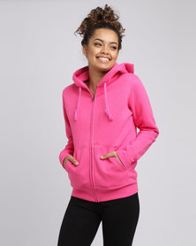 Fruit of the Loom Lady Fit Zip Through Hooded Sweat Fuchsia
