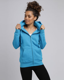 Fruit of the Loom Lady Fit Zip Through Hooded Sweat Azure Blue