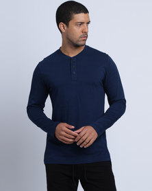 Utopia Basic L/S Henley Tee Blue