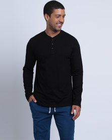 Utopia Basic L/S Henley Tee Black