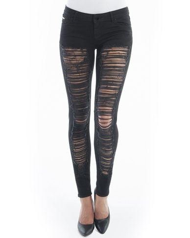 Diva Jeans Diaz Low Rise Skinny Black Slash