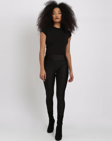 London Hub Fashion Full Length Disco Leggings Black