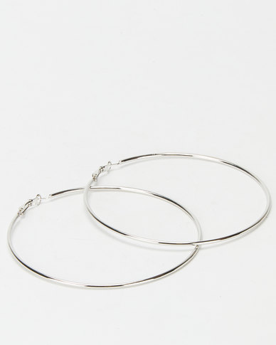 Joy Collectables Ladies Hoop Earrings 9cm Silver-tone