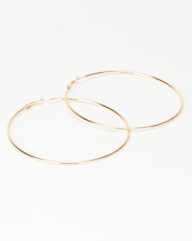 Joy Collectables Ladies Hoop Earrings 9cm Gold-tone