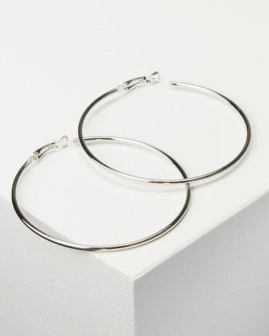 Joy Collectables Ladies Hoop Earrings 7cm Silver-tone