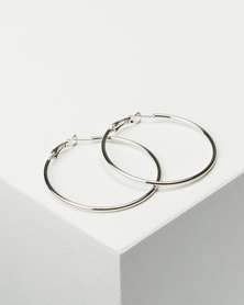 Joy Collectables Ladies Hoop Earrings 5cm Silver-tone